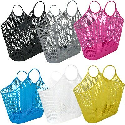 Shopping Tote Bag Plastic Handle Vintage Light Fashion Strong Durable Trendy