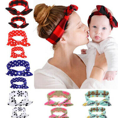 2PCS/Set Mom Mother & Daughter Kid Baby Girl Bow Headband Hair Band Accessories