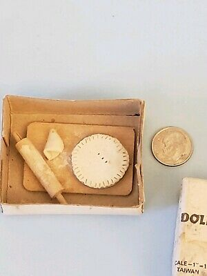 Vintage Miniature Dollhouse Rolling Pin And Pie handcrafted with original box