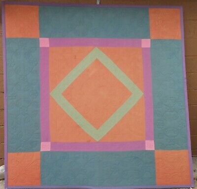 Graphic 19th Century Antique Amish Geometric Quilt, Great Colors Hand Stitched