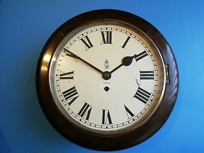 "#052 Antique George Vi 10"" Dial Mahogany Gpo Wall Clock Chain Fusee Movement"