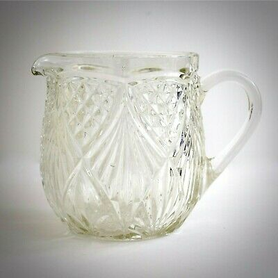 Crystal Glass Pitcher Clear Vintage Crafted in Czechoslovakia Boho Carafe