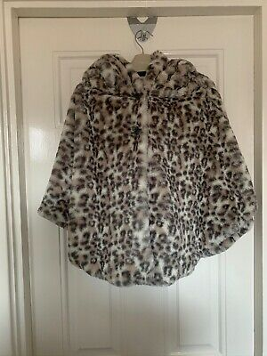 Next Girls 9 To 10 Years Leopard Print Faux Fur Cape Coat