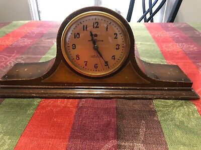 Vintage General Electric Telechron Mantle Clock Mahogany Camel Back Rare Works