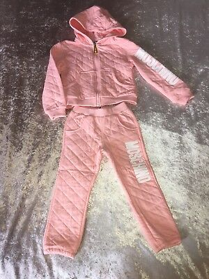 NEW Authentic Moschino Young Girl Peach Pink Quilted Tracksuit Set Jacket Jogger
