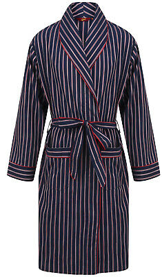 Men's Lightweight Navy Stripe Cotton Dressing Gown (sizes available)