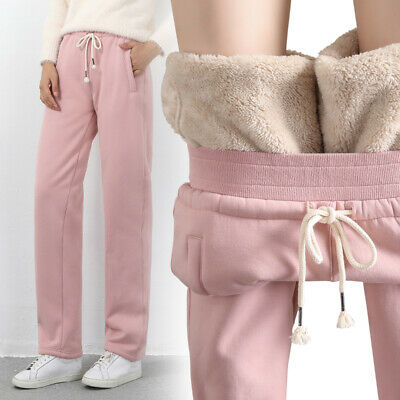 Women's Sweatpants Jogger Thicken Lambswool Fur Lined Loose Casual Trousers Warm