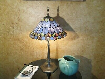 antique jeweled leaded stained glass heavy patina solid brass Art Deco lamp