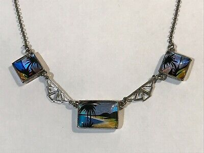 Antique Art Deco TLM Thomas L Mott Sterling Silver Butterfly Wing Necklace