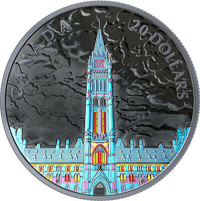Canada 2019 $20 Lights of Parliament Hill 1 oz. Pure Silver Coin