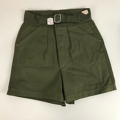 1950s Boys Shorts / 50s NOS Green Herringbone Buckle Belted Shorts Deadstock / 8