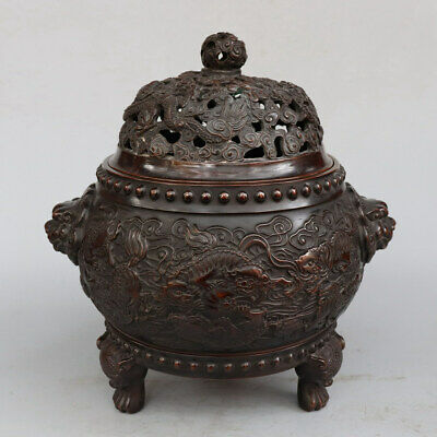 Chinese Exquisite Handmade beast copper incense burner