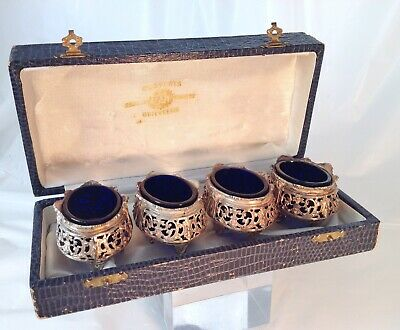 Set Of Four Antique 19C French Sterling Silver & Cobalt Gothic Open Salt Cellars