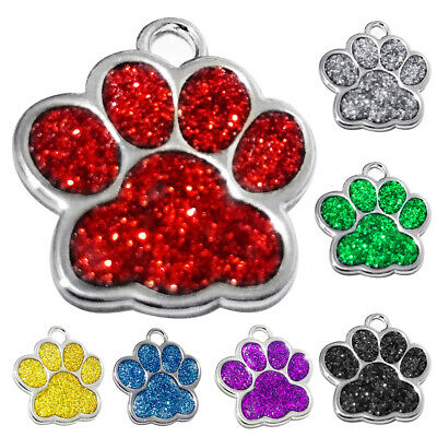 Personalised Pet ID Tags Zinc Alloy Glitter Bling Paw Print Dog ID Tags Deluxe
