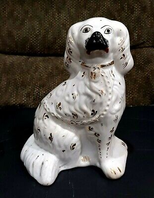 Antique Staffordshire Pottery Cavalier King Charles Spaniel Dog Figure Figurine