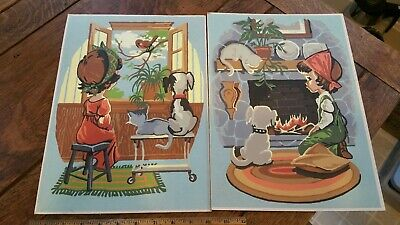 Vintage  Kids Children Mid Century Americana Paint By Number