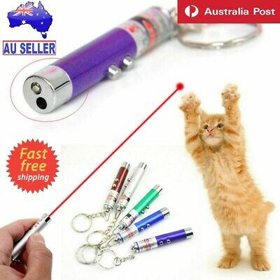 Pet Dog Cat Red Laser Lazer Training LED Torch Toy Fun Light Pointer Key Ring