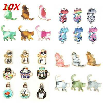 10Pcs Cat Enamel Alloy Charms Pendants For DIY Necklace Jewelry Making Findings~