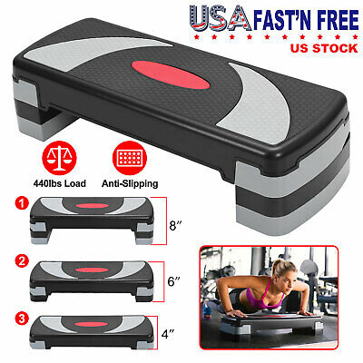 3 Level Fitness Aerobic Step Stepper Adjustable Exercise Cardio Workout w/Risers