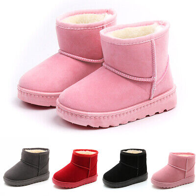 Children Kids Girl Fur Lined Ankle Snow Boots Winter Warm Casual Slip On Shoes
