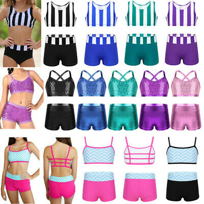 2-Piece Girls Dance Outfits Kids Striped Crop Top+Skirt Gymnastics Sport Costume