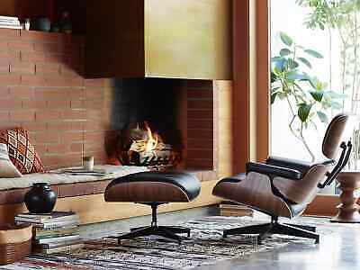 Fits Eames Lounge Chair and Ottoman Replica, Premium Leather, Walnut, Premium
