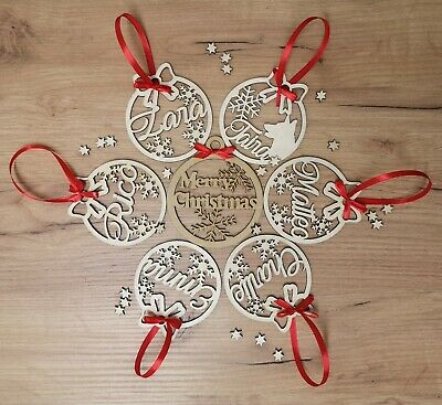 Personalised Christmas Tree Decoration Baubles Wooden Shapes gift tags Xmas