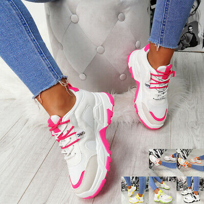 New Womens Lace Up Chunky Trainers Heel Sneakers Platform Sports Ladies Shoes