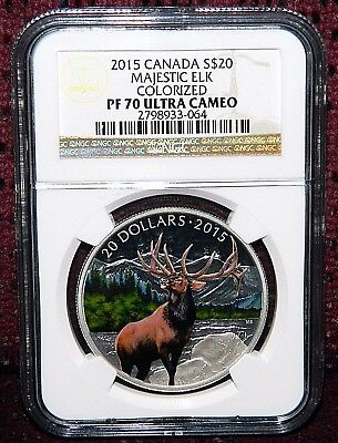 2015 Canada $20 The Majestic Elk Colorized Silver Coin - Ngc Pf 70 Ultra Cameo