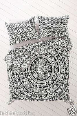 Indian Duvet Doona Cover Comfortre Green Ombre Mandala Quilt with Pillow Cover