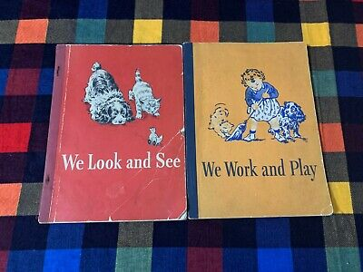 Lot of 2 Dick & Jane Books We Look And See, We Work And Play 1946 1947 Edition