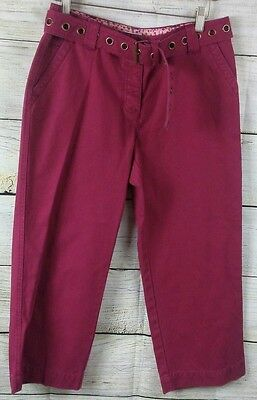 NWT LIZ CLAIBORNE Michaela Sz 8 Burgundy Cropped Straight Capris Women's Pants