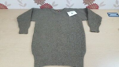 "Jumper mens ladies Unisex 100% Shetland dark natural marl  37"" Winter Warm (G4)"