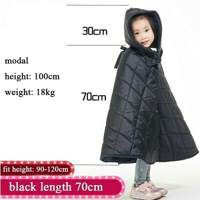 Kids Motorcycle Windproof Poncho Padded Quilted Coats Cloak Cape Waterproof