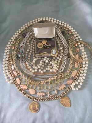 20Lb Costume Jewelry Lot Wear/Repair Rhinestones Coins Way More Than Shown Lot H