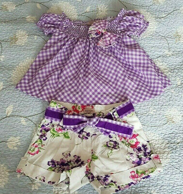 Girls Monnalisa Bow T-shirt and Shorts Set Size 5 years