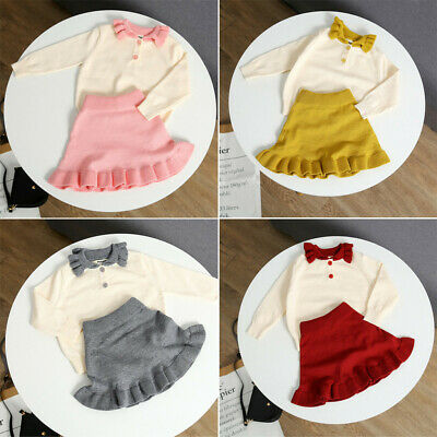 2pcs Toddler Kids Baby Girl Knitted Long Sleeve Tops+Mini Skirts Outfit Party UK