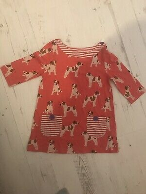 Mini Boden Girls Red Puppy Dog Tunic Top Dress Age 5-6
