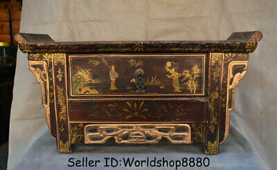 "24.4"" Old China Wood Lacquerware Painting Dynasty drawer table Desk Furniture"