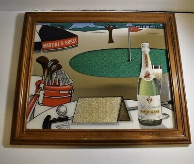Martini Rossi Mirrored Framed Golf Bar Sign 19x16 Vintage Wine Beer