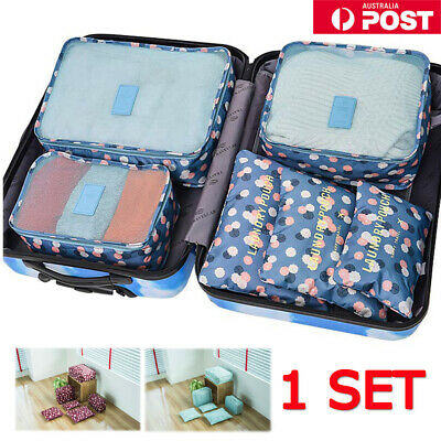 6PC Travel Luggage Suitcase Organiser Packing Cubes Set Bags Backpack Pouches AU