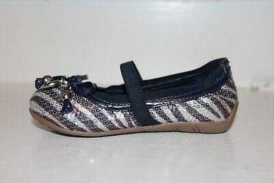 Michael Kors Girls Lil Kory Sequin Zebra Navy Silver Ballet Flat NEW