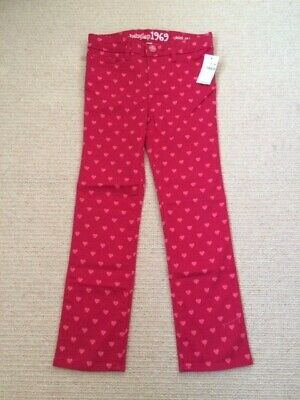 Lovely Gap girl's red/pink love heart stretch jeans, 5 years, BNWT