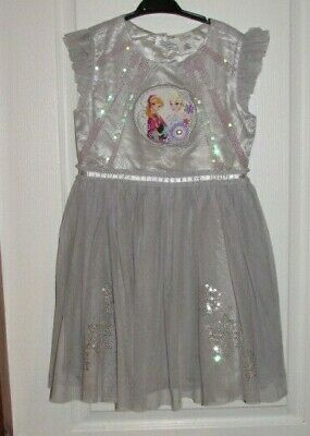 Disney Store Girls Party Dress with Frozen Applique & Sequin Snowflakes-Age 7-8