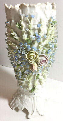 Antique German Sitzendorf Coburg Dresden Meissen Porcelain Flower Encrusted Vase