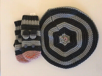 Mini Boden Girls Hat Scarf Set Grey Cable Knit Age 11-12 Beret Style Brand new