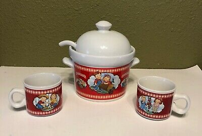 2002 Campbell Soup Houston Harvest (2) Cups (1) Serving Bowl With Ladle And Lid