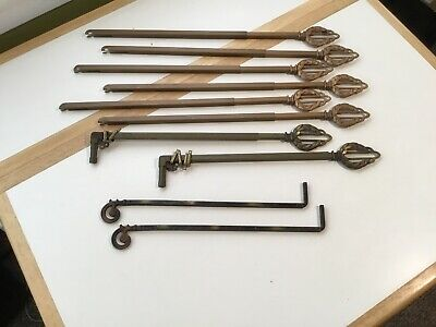 10 Assorted Antique Art Deco Metal Swing Arm Curtain/ Drapery Rods