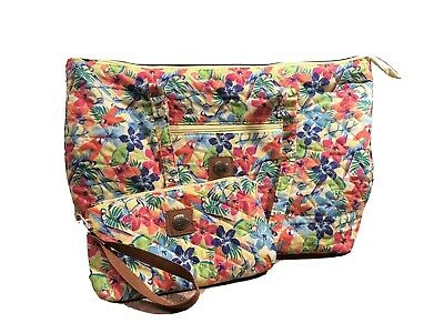 Stone Mountain Blue Pink Floral Parrot  Zip Bag Matching Small Pouch Preowned