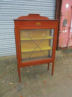 An Edwardian Mahogany and Inlaid Glazed Display Cabinet Single Large Marquetry